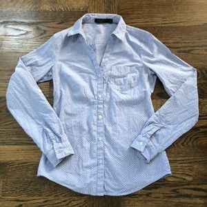 The Limited Chambray & Navy Button Down Top